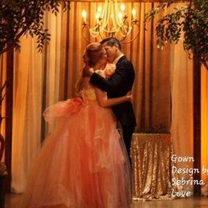 KELSEY Blush Lace & Tulle Wedding Ballgown…